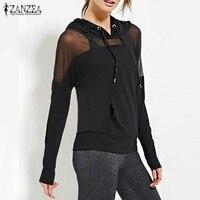 New Arrival Women Sweatshirt 2017 Autumn ZANZEA Hoodies Sexy Mesh See Through Hooded Blusas Long Sleeve