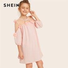 Шеин детский розовый с аппликацией с бантом спереди сетки для девочек милое платье 2019 Лето епископ рукава кнопку назад Вечерние Платье-туника для детей
