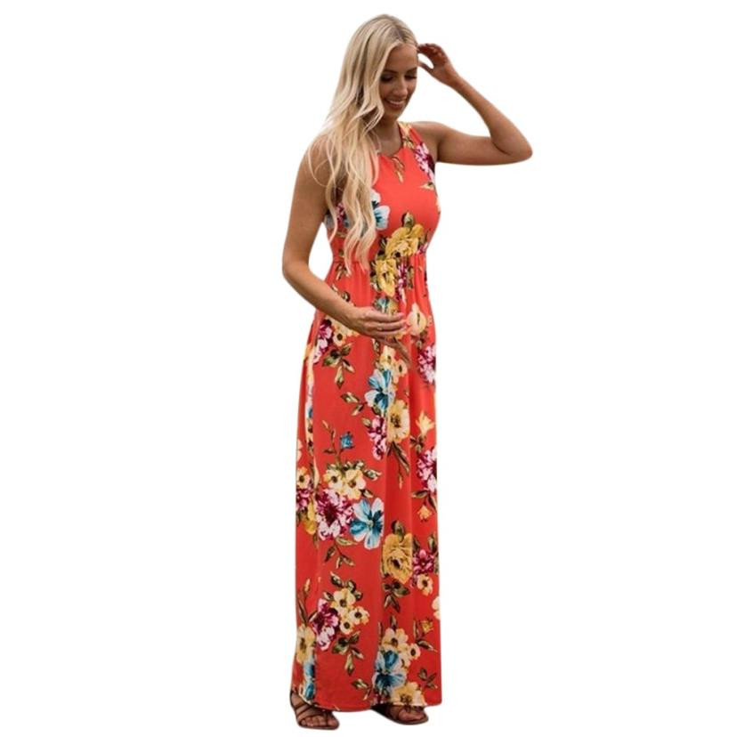 Summer dress 2018 New Arrival Mommy O-neck Long dress Women Floral Print Sundress Vest Slim Dress Family Clothes moda mujer