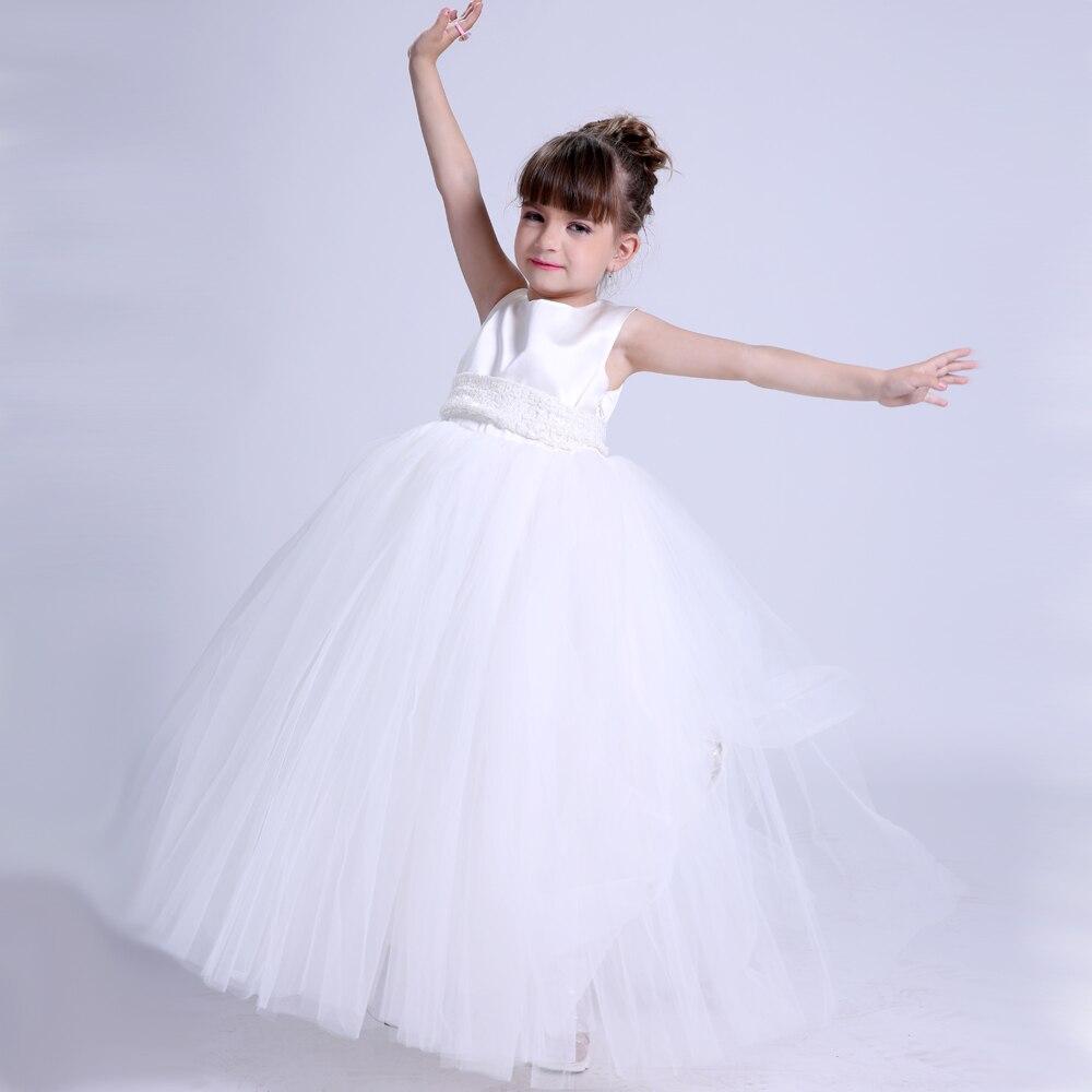 Enfants robe de bal Boutique Tulle fleur fille robes blanc princesse Tutu robe pour enfants filles de mariage fête formelle robe personnalisée - 2