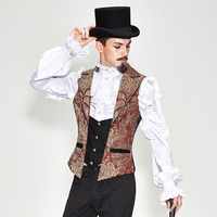 Vintage Men's Waist Coats Embroidery Split Joint Male Retro Style Party Wearing Red Black Tops