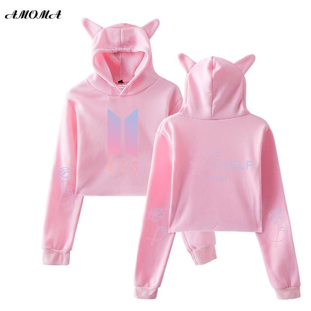 AMOMA BTS Love Yourself Answer Long Sleeve Cat Ear Hoodies Sweatshirt Kawaii Fashion Korean Pullover