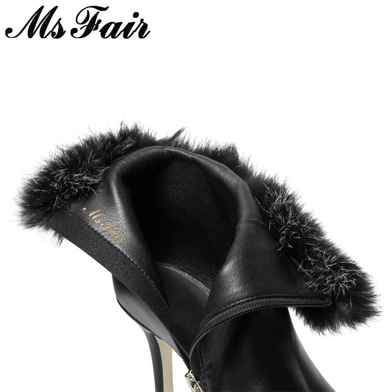 Black Moda Para Plush Msfair Cremallera Metal short Tacón Arranque Botas 2018 Chica Alto Mujer Black Punta Leather Zapatos De Tobillo qRwAxFRpS