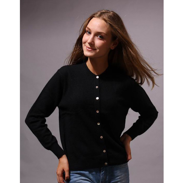 100 Cashmere Sweater Women O Neck Black Cardigan Natural Fabric ...