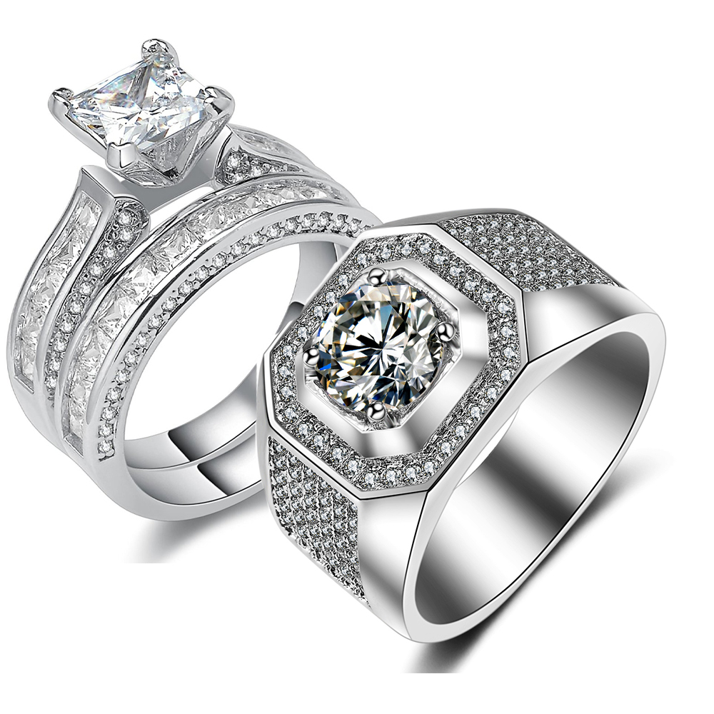 2018 Top Selling Couple Rings Sparkling Jewelry 925