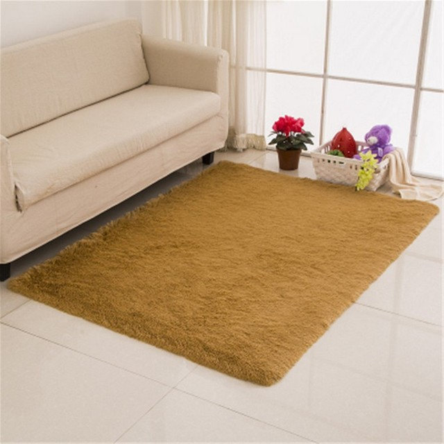 SunnyRain Solid Color Shaggy Indoor Rugs And Carpet For Living Room Carpets  Bedroom Area Rugs Slip