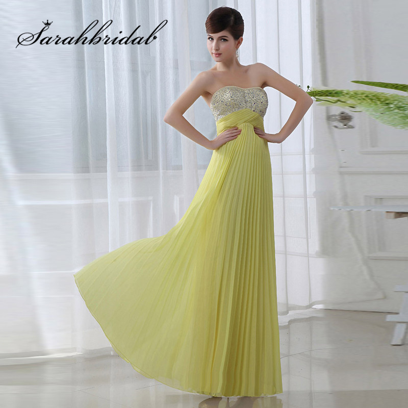 5cec08eb4915 Hot Sale Long Evening Dresses High Waist Sweetheart Chiffon Beaded A Line  Prom Party Gowns Lace Up Back SD002