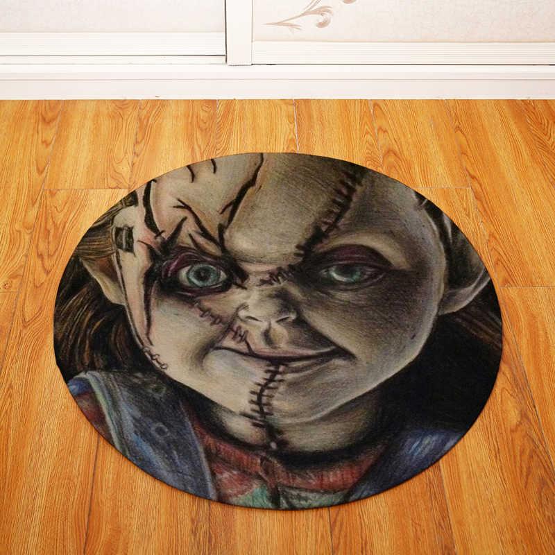 Rodada Tapetes para Sala de estar Quarto Salão de Horror boneca Impresso Cadeira Decorar Não-slip Capacho Tapetes De Banho Higiênico