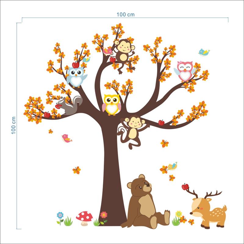 HTB11psaPpXXXXcoXFXXq6xXFXXXk - Jungle Forest Tree Animal Owl Monkey Bear Deer Wall Stickers For Kids Room
