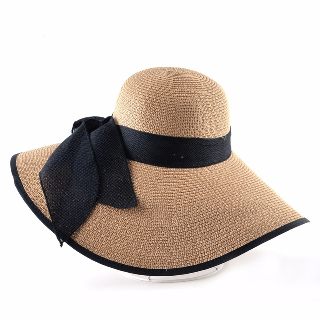 Fashion Straw Hat For Women Summer Casual Wide Brim Sun Cap With Bow-knot Ladies Vacation Beach Hats Big Visor Floppy Chapeau 2