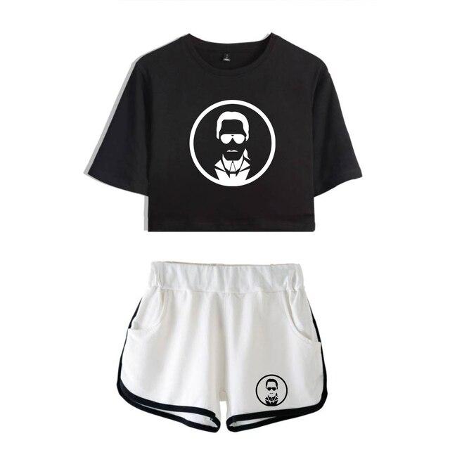 LUCKYFRIDAY 2019 Đồng Hồ Nữ KARL LAGERFELD 2 Cotton Thun In Hình nữ Bộ Quần Áo Ngắn Vụ Karl Thời Trang Đầu + quần short XS-2XL