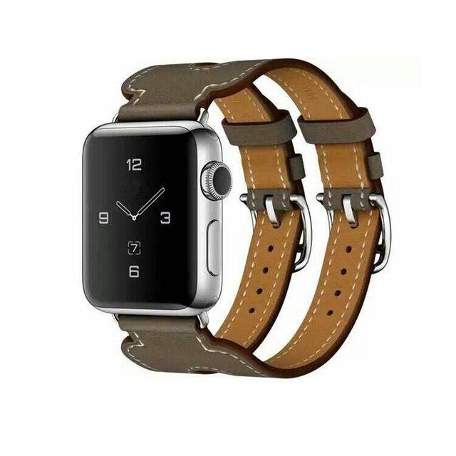 f3350089a55 CRISTA Dupla Fivela faixa de Relógio Para Apple Watch band 42mm 38 Pulseira  Bracelete de