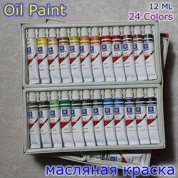 Профессиональный бренд холст для росписи маслом пигмент художественные принадлежности акриловая краска s Каждая трубка Рисунок 12 мл 24 цвет...