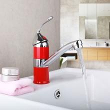 Красный ванной бассейна раковина уникальный Дизайн Одной ручкой Chrome раковина бассейна вода сосуд Санузел горячей и холодной водой кран