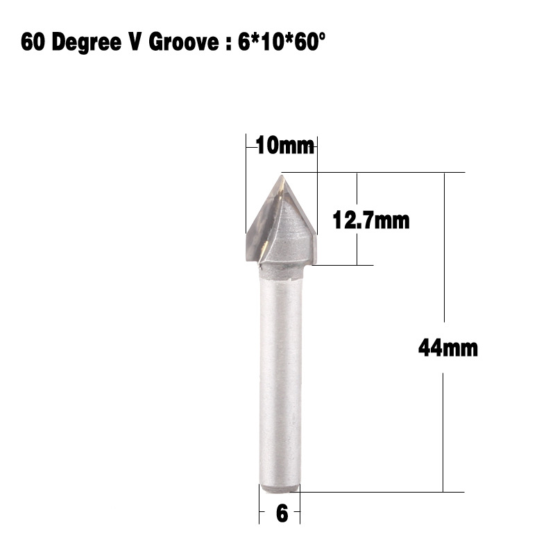 Autoly 3//4-Inch Cutting Dia 1//2-Inch Shank 90 Degree Angle Double Flute Carbide Tipped V-shaped Grooving V-Groove Router Bit