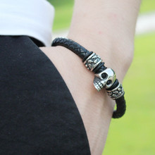 mens leather bracelets Jewelry Charm Stainless Steel Magnet buckle  Bracelet Boyfriend Girlfriend Hand-woven Gifts