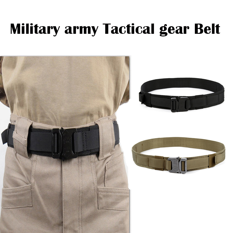 ФОТО New Military Army Tactical gear 1.5-inch steel head shooting belt MOLLE 1000D waterproof  wear-resistant Airsoft Hunting Belt