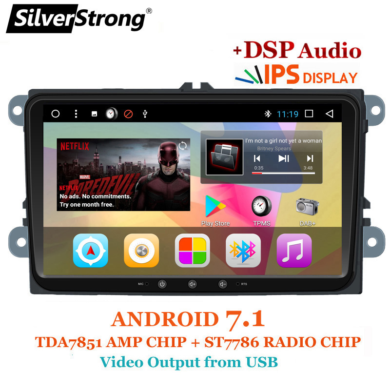 SilverStrong Gros 9 pouces IPS Panneau Jetta Android 7.1 DSP Radio Voiture DVD Android Pour VW Golf6 MK5 Passat B6 b7 Polo GPS 901T3