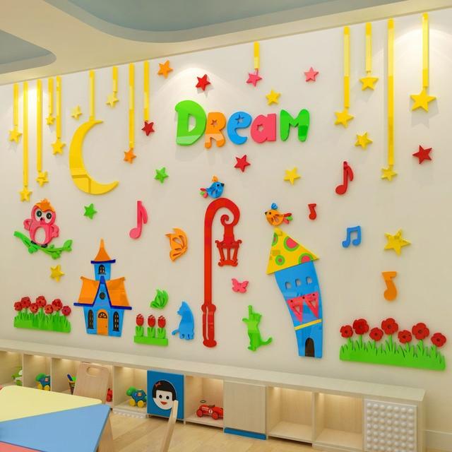Kids Room Kindergarten Wall Decoration Owl And House Design Acrylic