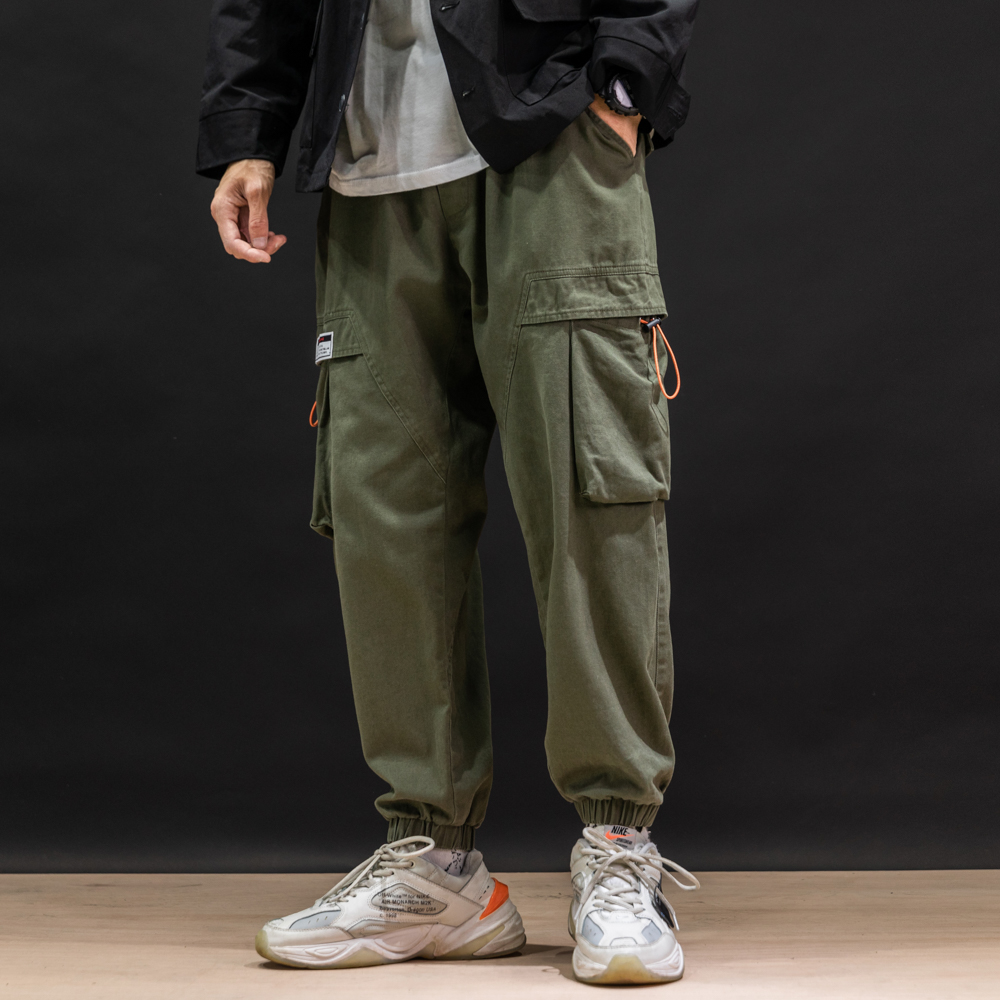 Brand Fashion Oversize M-5XL Streetwear Men Solid Pocket Pant with Loose Leisure stitch Elasticity largeSplice Straight Fit pant(China)