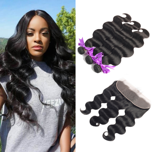 Body Wave Bundles With Frontal with Brazilian Hair Weave Bundles Non Remy Human Hair Bundles With Closure