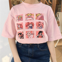 Kawaii T Shirt Summer Women Tops 2018 Harajuku Sweet Print Sailor Moon Loose Short Sleeve Plus Size Tee Shirt Femme +-