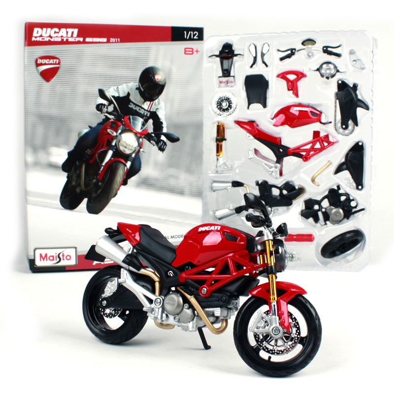 Maisto 1:12 Ducati Monster 696 Assembly DIY MOTORCYCLE BIKE Model Kit FREE SHIPPING S 1000RR/R1200 GS 39189 when tamiya model motorcycle ducati ducati 1199 1 12 panigle s 14129 model buiding kits
