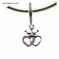Коронован сердца orchid Розовый Эмаль Ясно CZ Бусины 925 стерлингового серебра--изделия Fit серебряный браслет женщина DIY бусины оптовая продажа
