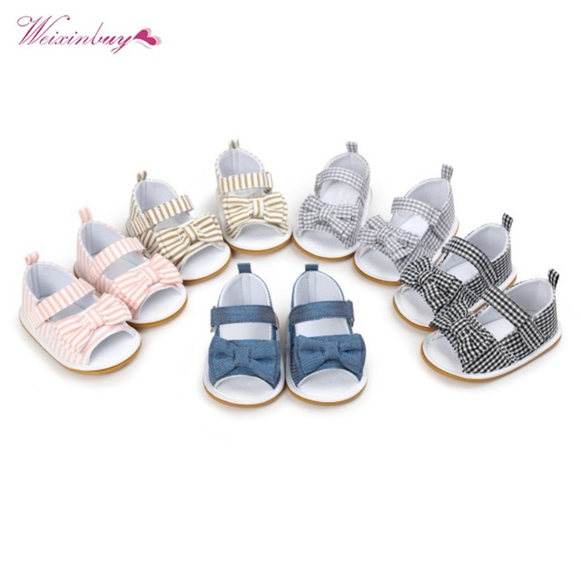 WEIXINBUY Girls Summer Cute Tartan Princess Style Bowknot Breathable Non-slip Soft Bottom Cack First Walkers 0-18M 5