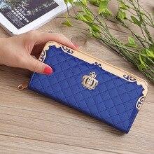 Купить с кэшбэком 2019 New Long Women Wallets Leather Female Card Holders Crown Wallet Large Phone Wallet Clutch Women Purse for Weddings W033