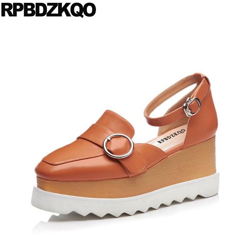 Plus Size Cork Spring High Heels Genuine Leather Orange Flatform Ankle Strap Shoes Closed Toe Pumps Women Wedge Platform Sandals spaghetti strap asymmetric tie dye plus size top