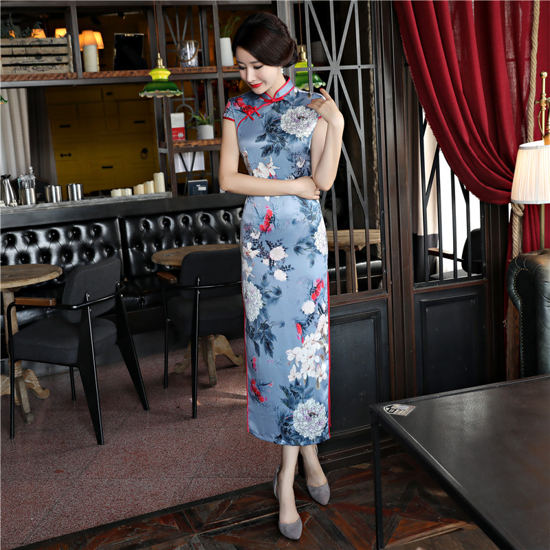 4xl 2018 Robe Style Silm Grande Nouvelle Robes Oriental Mandarin Qipao Dame M Femmes Col Taille Cheongsam Printemps 83128 Chinois Longue u3l1JcFK5T