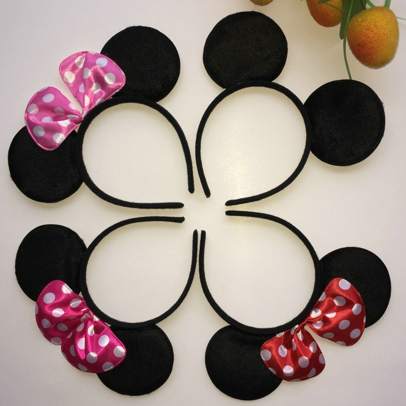 Lovely Cartoon Dot Bow Cloth Headband Cute Women Girls Boys Kids Fantastic Black Mouse Ears Hair Accessories Headress 4 Colors