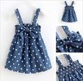 2016 summer new girls dress Dress Dot bow denim strap dress baby girl Suitable for children 3-7 years old
