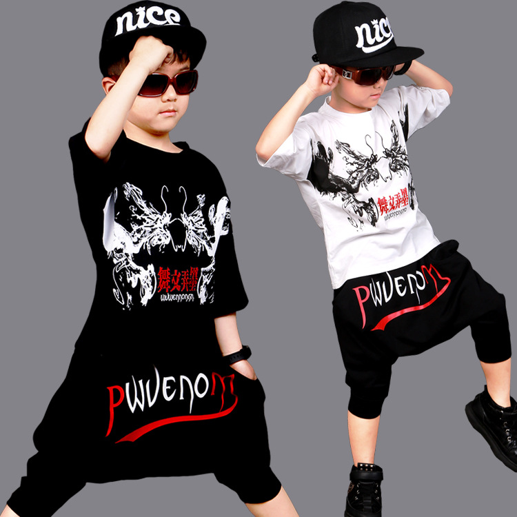 2017 New fashion Summer children's clothing set streetwear Costumes kids boys sport suits Hip Hop T Shirt &harem pants 2pcs sets