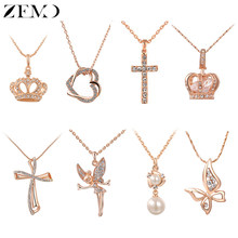 ZEMO Rose Gold Necklace Heart Pendants&Necklaces Zirconia Crystal Cross Choker Necklaces Beautiful Butterfly Crown Collar Gifts(China)