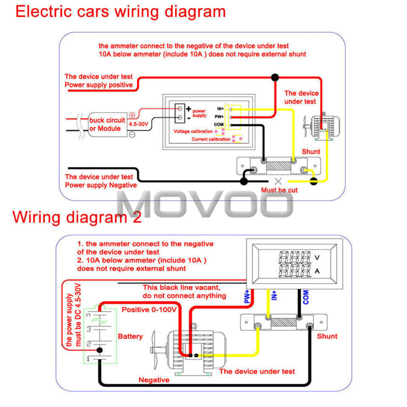 volt amp meter wiring diagram volt image wiring aliexpress com buy 2in1 volt amp meter dc 0 100v 100a blue red on volt amp