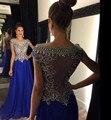 Colher Azul Royal Vestidos de Noite 2016 com Strass Frisado Illusion Sheer Chiffon Até O Chão Vestidos de Festa de Formatura do baile de Finalistas