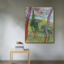 Sao Paulo Hospital Park by Vincent Von Gogh Poster Print Canvas Painting Calligraphy Home Decor Wall Art Picture for Living Room