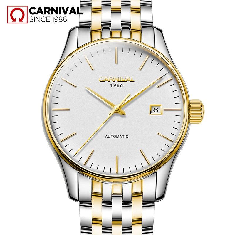 Carnival Watch Men Automatic Mechanical Luminous Stainless Steel Waterproof Date Gold White Watches джинсы мужские zhuo bielun zb15b006 2015