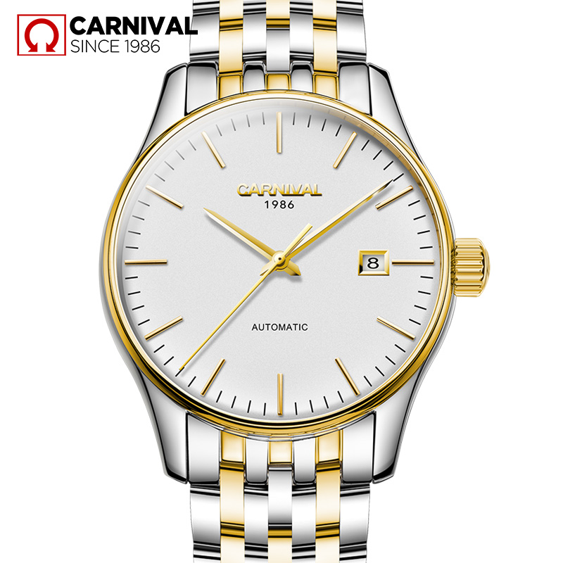 Carnival font b Watch b font Men Automatic Mechanical Luminous Stainless Steel Waterproof Date Gold White