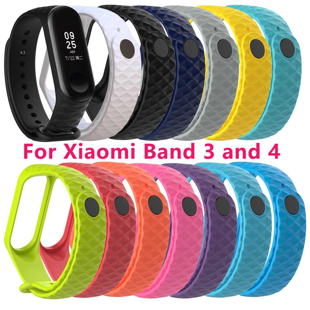 Wristband For Xiaomi Band 3 4 Silicone Rhombus Replaceable Strap Xiomi Xaiomi Xiami Xaomi Mi Xaiomy Bracelet Women Man