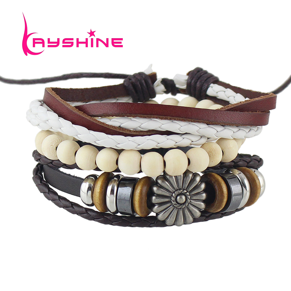 Set Men Jewelry Brown Coffee Pu Leather Wrap Bracelet Pulseras Rope  Beige Beads Multilayer