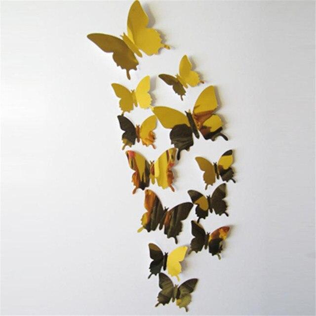 12pcs PVC Wall Stickers Home Decal Butterflies 3D Mirror Wall Art ...