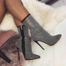 цена на MIUBU Dropship Autumn Winter Glitter Shoes Woman Chelsea Boots Sexy Pointed Toe 11cm Thin High Heels Ankle Boots Women Silver
