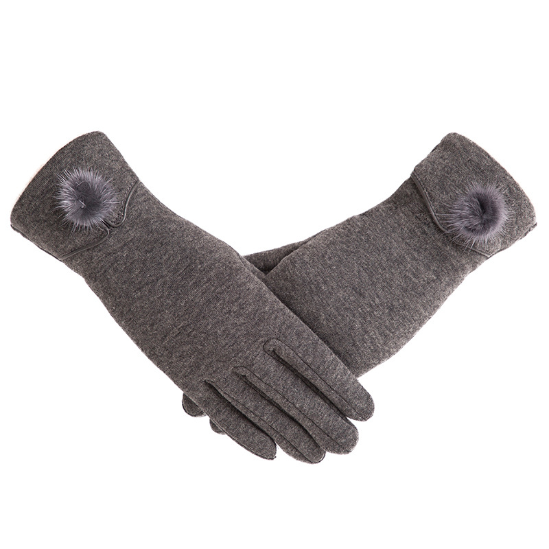 New Female Autumn Winter Non-Inverted Velvet Cashmere Full Finger Warm Lace Hairball Gloves Women Cotton Touch Screen Gloves G82