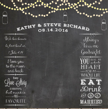 String Lights And Mason Jars Wedding Photo Backdrop Chalkboard Printable