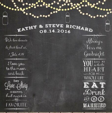 String Lightason Jars Wedding Photo Backdrop Chalkboard Printable Photobooth