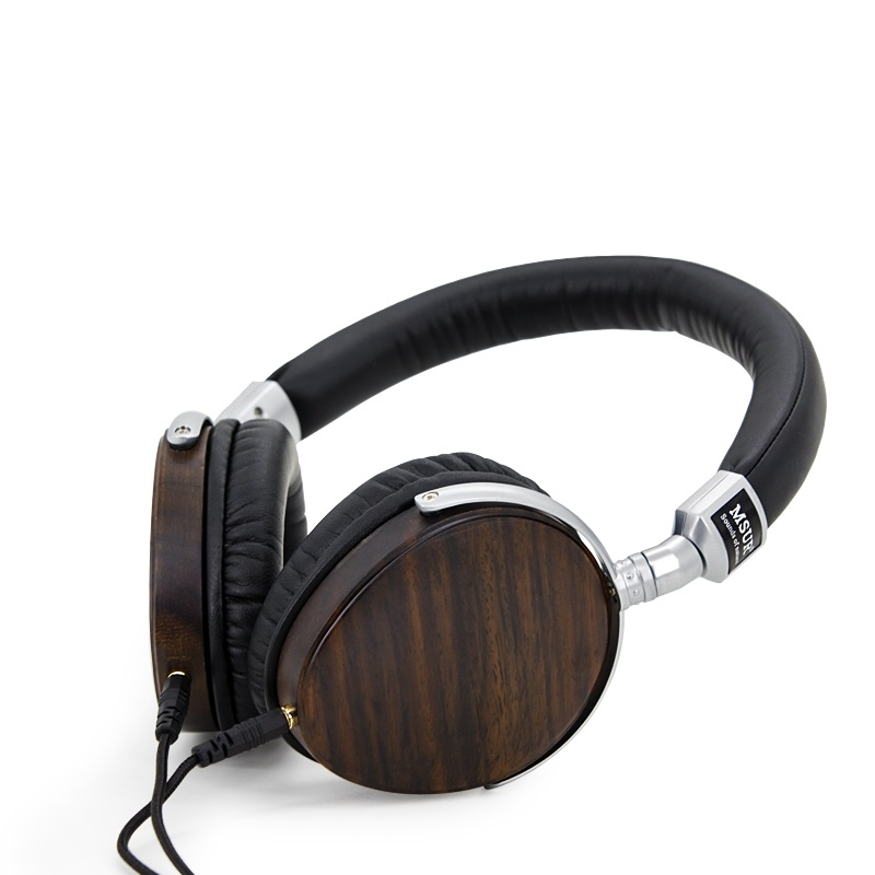 Original MSUR N350 Noise Isolating HiFi Wooden Metal Headphone Headset Earphone With Beryllium Alloy Driver Portein Leather new original msur n650 wooden metal hifi music dj headphone headset earphone with beryllium alloy driver portein leather