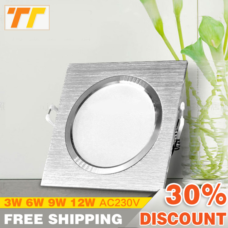 LED Downlights Square Brush sølv 3W 6W 9W 12W AC220V 230V LED Loftslampe Down Light til Køkken / Home / Office Indoor Lighting